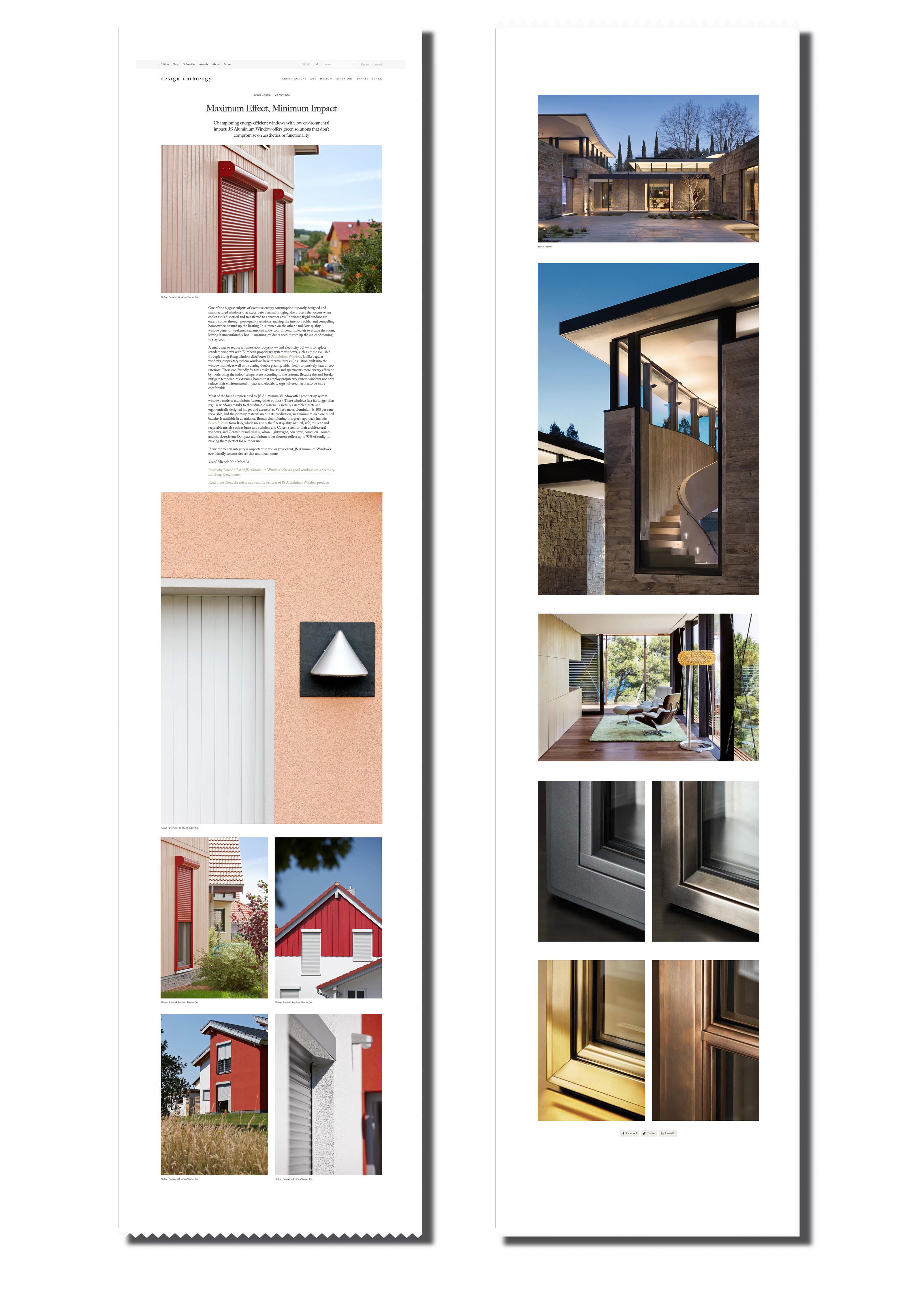 JS - Aluminium Windows in Hong Kong 高級歐洲鋁窗代理 - coverage on design anthology