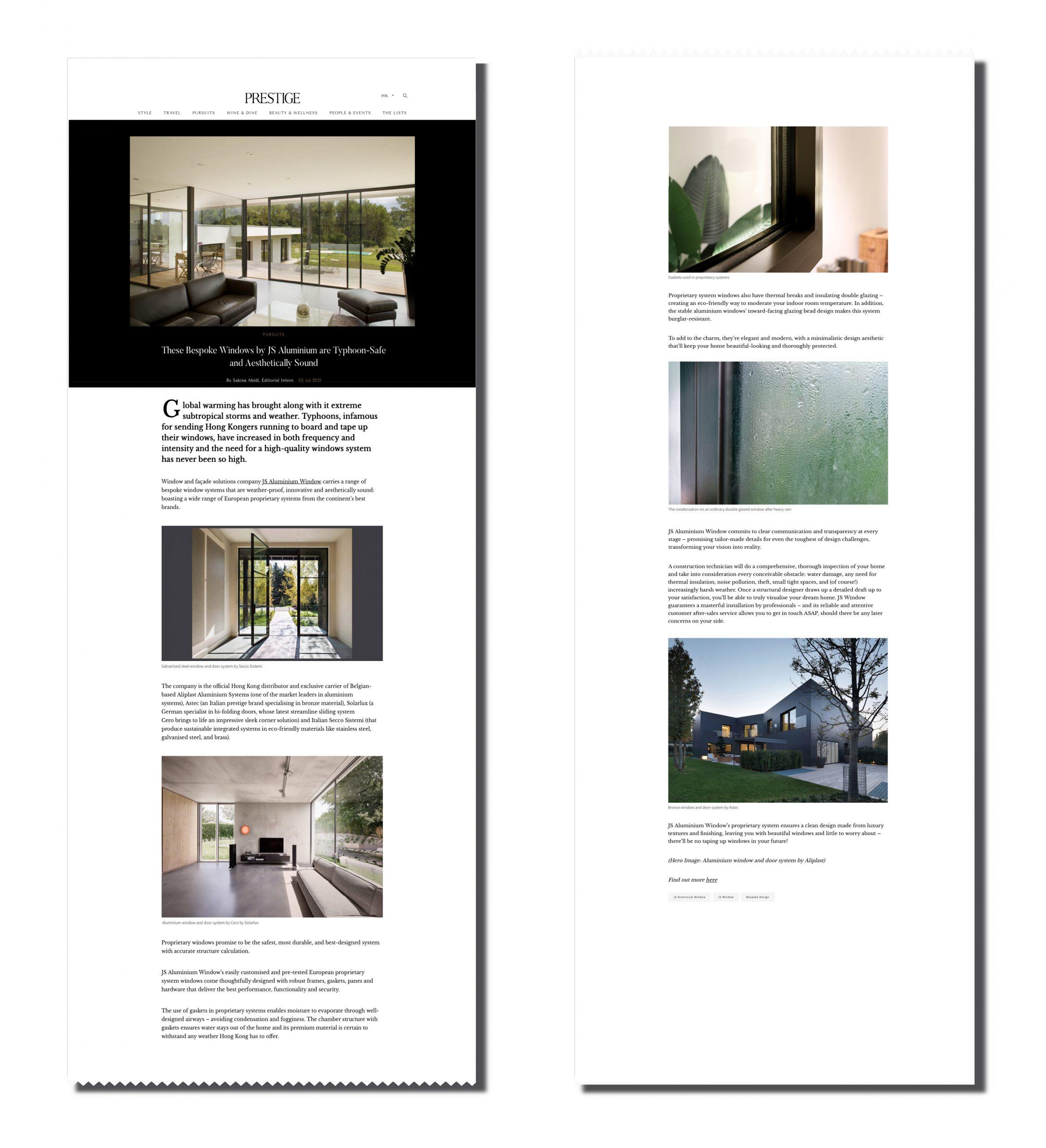 JS - Aluminium Windows in Hong Kong 香港優質鋁窗公司 Prestige Article